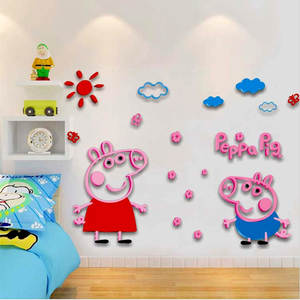 Wall-Sticker Crystal Ark-Force Kindergarten 3D Cartoon Peppa Original Children Home Pig