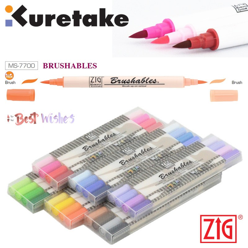 ZIG Kuretake MS-7700 Waterproof Brushables Brush Up On Colour Twin Tip Paint Brush 4 Pieces Marker Pen Set Japan