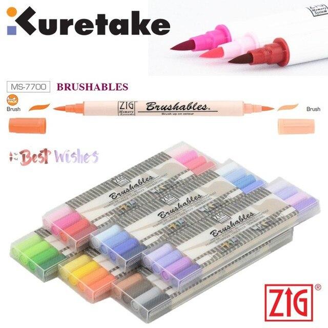 ZIG Kuretake MS 7700, водостойкая кисть для кисти, Цветная кисть с двумя кончиками, 4 шт., набор маркеров, Япония