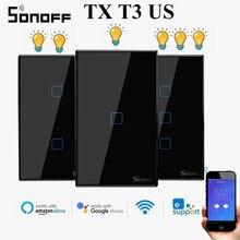 SONOFF TX T3 الولايات المتحدة واي فاي الجدار مفتاح الإضاءة لوحة اللمس المقاطعة 433RF 433/صوت/APP التحكم عن بعد أليكسا جوجل EwelinkSmart المنزل