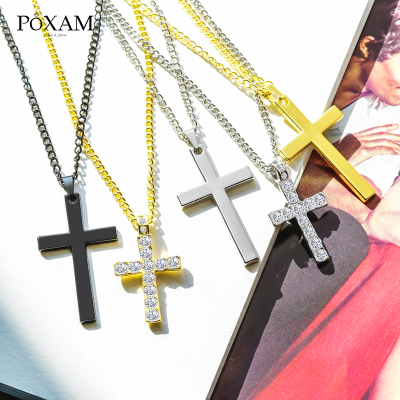New 925Sterling Solid Silver Men Jewelry Crystal Cross Pendants Necklace Women
