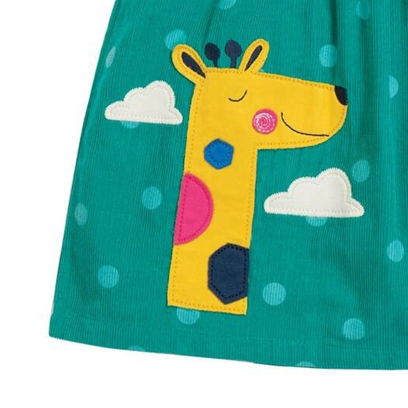 Little maven Dress Girls Sleeveless Dress Animal Giraffe Applique Baby Girls Corduroy Sundresses Kids Clothes Brand Dress 3