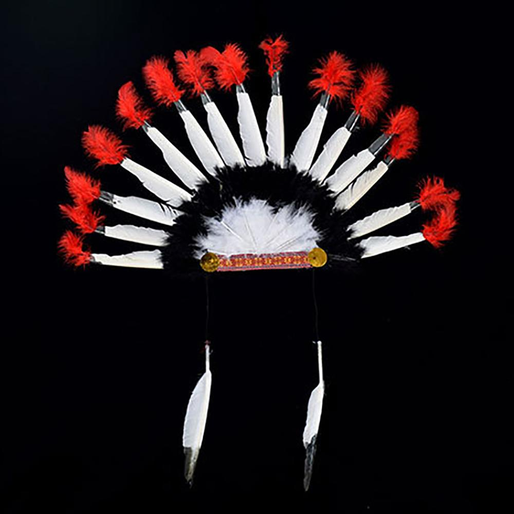 Cosplay Props Feather Headdress Indian Chieftain Hat Halloween Carnival Day Headband Headwear Villus Chiefs Cap Party Headwear