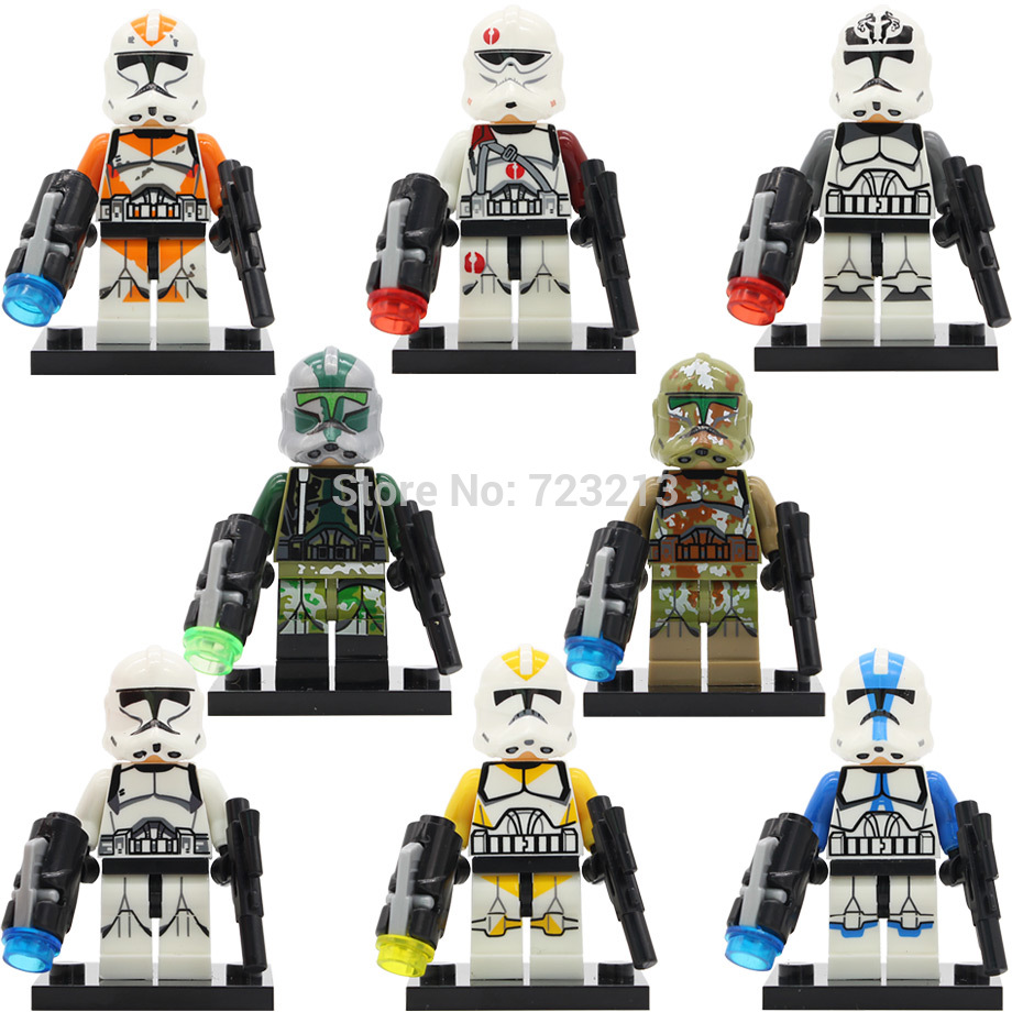 Single Figure White Soldiers Starwars Wolf Pack Clone Yellow Utapau Clone Trooper Commander Neyo Building Blocks Set Toys image
