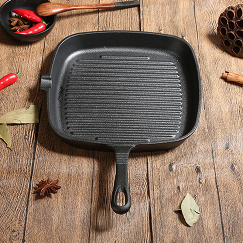 New Cast Iron Steak Frying Pan Food Meals Gas Induction Cooker Cooking Pot Kitchen Cookware