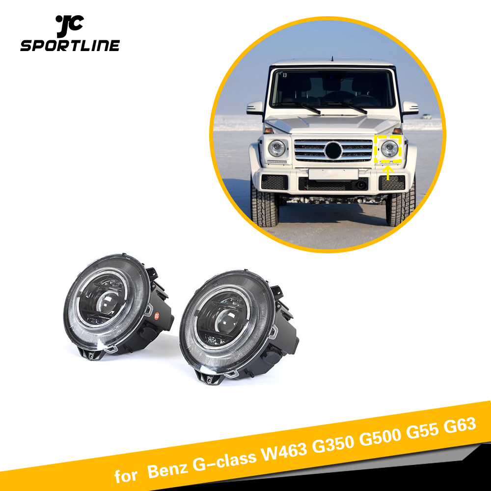 W463 LED Head Lamp for Mercedes-Benz G Class W463 G500 G550 G63 <font><b>AMG</b></font> <font><b>G55</b></font> <font><b>AMG</b></font> new style LED Headlights Black image