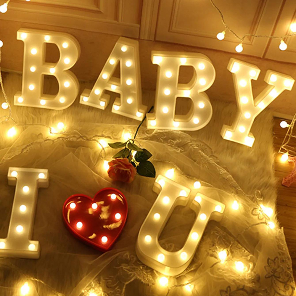 22CM LED Letter Night Light Light Alphabet Battery Home Culb Wall Decoration Party Wedding Birthday Decor Valentine's Day Gift