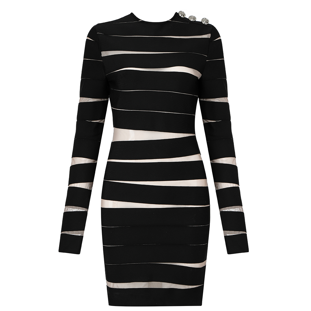 Vestidos <font><b>Dress</b></font> <font><b>Women</b></font> Party Night Winter <font><b>Black</b></font> <font><b>Sexy</b></font> Bandage <font><b>Dresses</b></font> <font><b>Bodycon</b></font> <font><b>Long</b></font> Sleeve Elegant Vintage Ladies Clothes image
