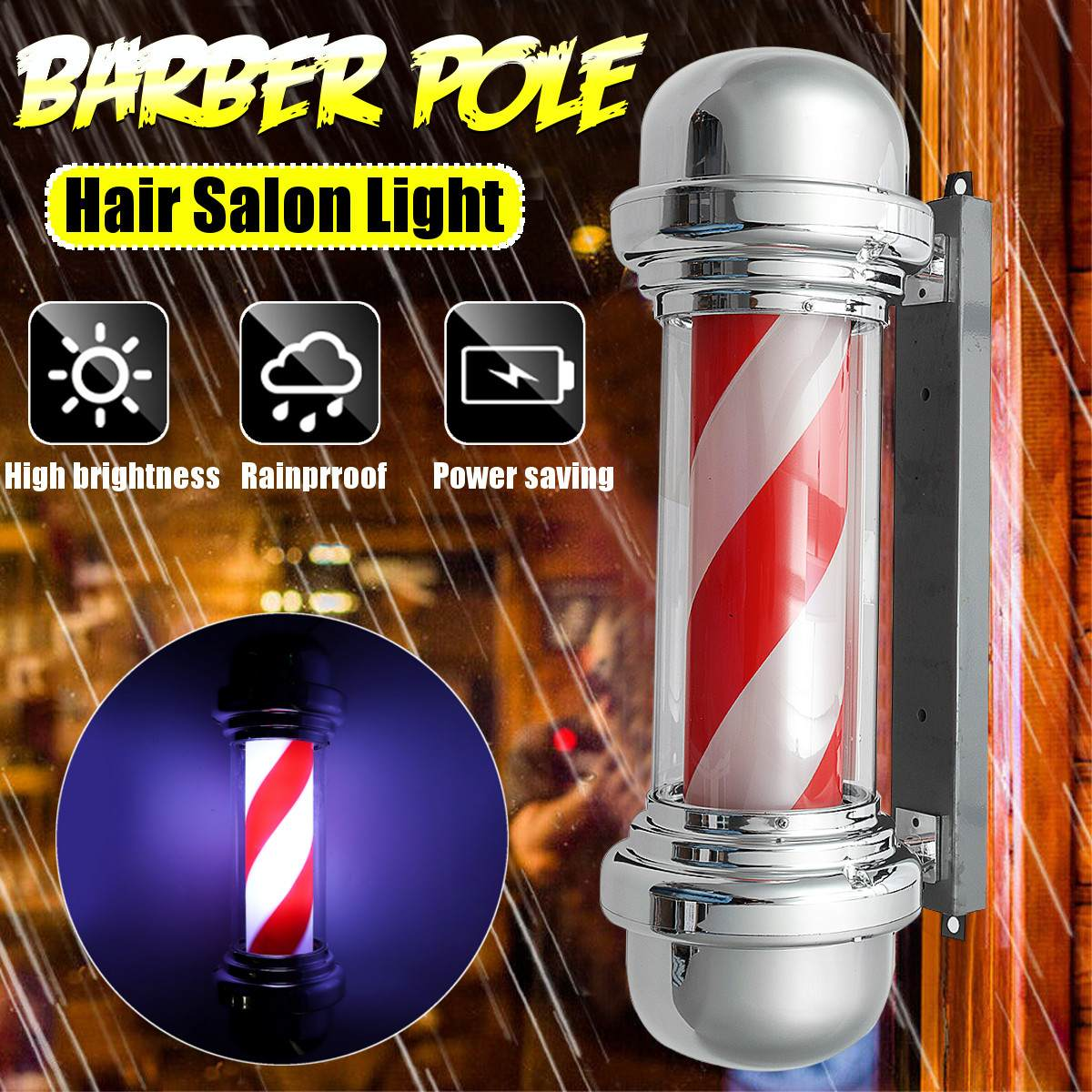 New Barber Shop Pole Rotating Lighting Red White Stripe Rotating Light Stripes Sign Hair Salon Wall Hanging LED Downlight