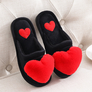 Women Warm Slippers Ladies Cotton Fashion Winter Flat Shoes Female Indoor Comfort Cute Love Heart Plush Non Slip Woman Slipper