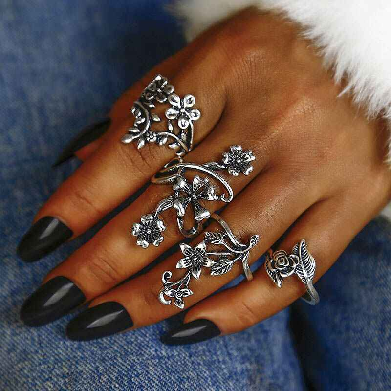 New Vintage Rose Flower Rings Set for Women Girl Bohemia Antique Silver Color Midi Rings Floral Knuckle Wholesale