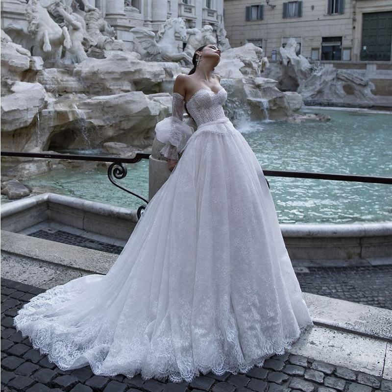 Verngo Boho Wedding Dress Lace Appliques Princess Bride Dress Elegant Wedding Gowns Robe Sirene Mariee Suknia Slubna