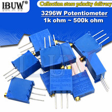 10 pces 3296w potenciômetro precisão resistência ajustável multi-turn aparamento 1k 2k 5k 10k 100k 103 100r trimmer potenciômetro