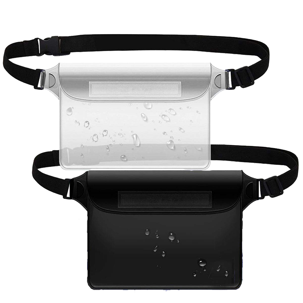 2 Pcs Large Capacity Waist Bag Touch Screen Water Sports Swimming Waterproof Adjustable Straps Translucent Fishing PVC Sealer