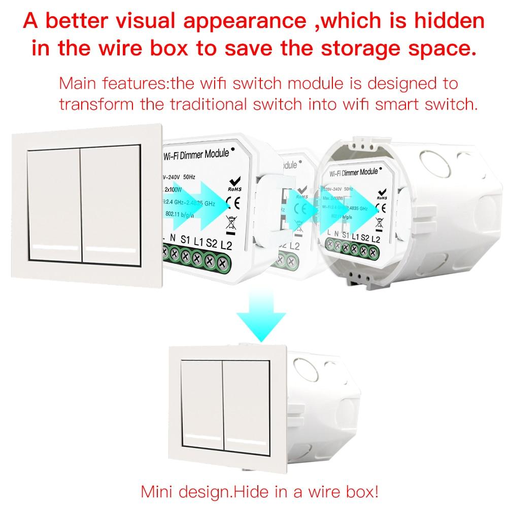 2 Gang Diy Wifi Smart Light Led Dimmer Module Schakelaar Smart Leven/Tuya App Afstandsbediening Werk Met Alexa echo Google Thuis - 6