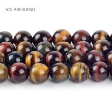 Natural Minerals Mixed Tiger Eye Stone Round Loose Beads For Jewelry Making 4-12mm Spacer Beads Fit Diy Bracelet Necklace 15''