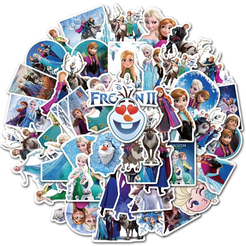 50 Pcs Frozen 2 Stickers Princess Elsa Graffiti Frozen Sticker For Kids On Laptop Skateboard Suitcase Bike