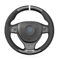 -Negro de punto de fibra de carbono protector para volante de coche para BMW M F10 F11 (turismo) F07 F12 F13 F06 F01 F02 M5 F10