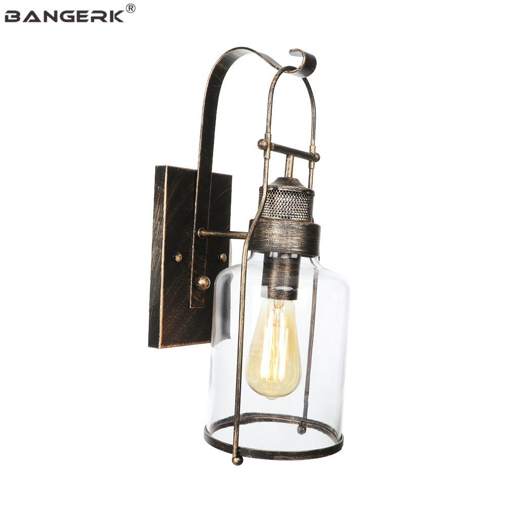 Vintage Iron Glass Wall Lamp LED Edison Industrial Sconce Wall Lights Loft Decor Bedside Wall Light Home Lighting Luminaire