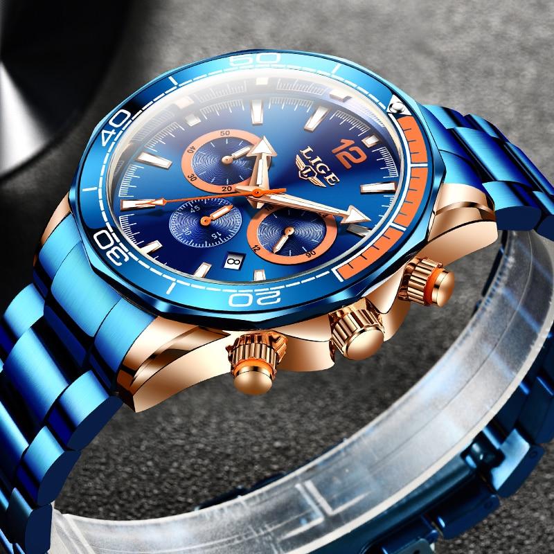 2021 New Fashion Blue Mens Watches LIGE Top Brand Luxury Quartz Clock Sports Chronograph Waterproof Watch Men Relogio Masculino