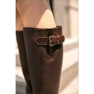 Image 5 - Beautoday botas longas mulheres de couro vaca dedo do pé redondo zíper fecho fivela joelho botas altas inverno moda senhora sapatos feitos à mão 01215