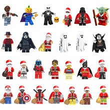 Noël Halloween figurines père noël Grinch Joker Deadpool dark vador Harley Quinn Mini Legoing blocs de construction figurines(China)
