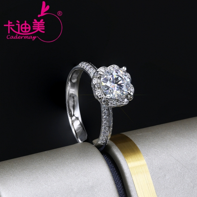 CADERMAY S925 Silver Jewelry 1CT Round Brilliant Cut Flower Style Moissanite Diamond Wedding Ring Band For Ladies Hot Sale 5