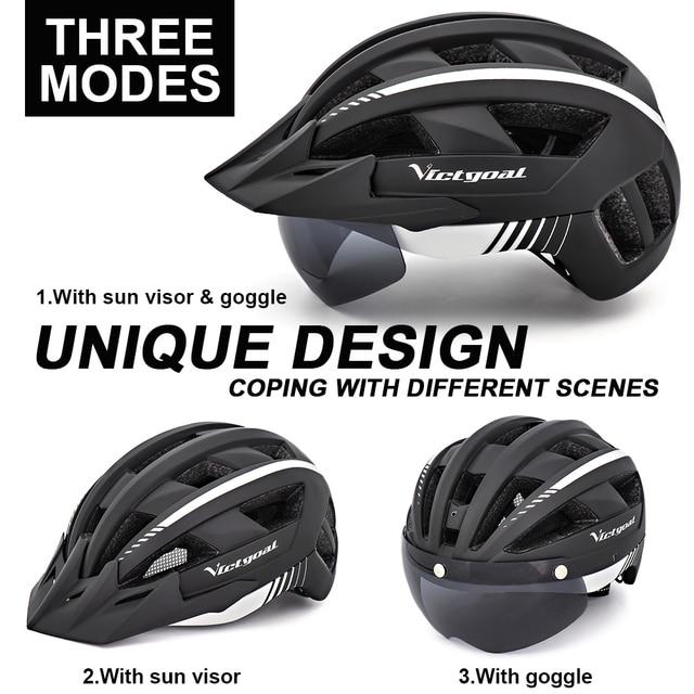 Victgoal mtb capacete da bicicleta moutain estrada usb recarregável backlight ciclismo capacete viseira sol polarizado óculos de proteção luz da bicicleta capacetes 4