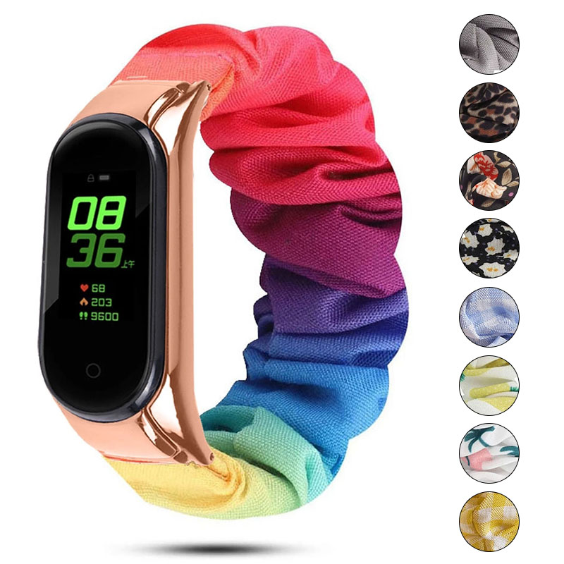 Scrunchies Elastic Strap for Xiaomi Mi band 6 5 4 replaceable Bracelet Mi Band 5 correa Wristband Breathable straps for miband 6