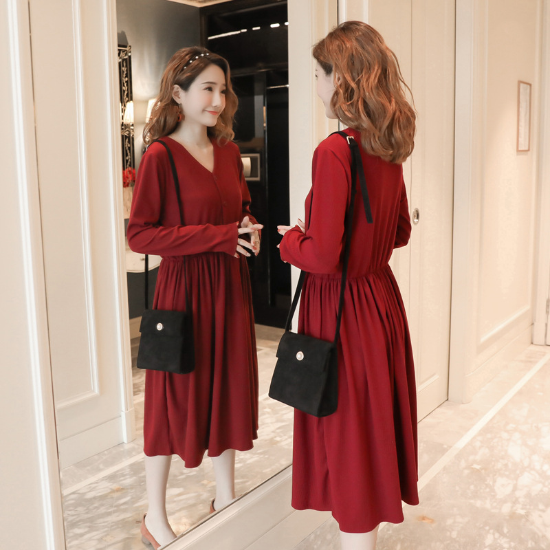 Pregnant Dress Winter Breastfeeding Fashion V Neck Knitted Cotton Long Maternity Dresses  Long Sleeve Pregnancy Clothes