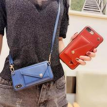 wallet card strap leather case for iphone 11 pro max XS MAX XR X 7 8 6 6S plus luxury shoulder lanyard phone bag capa fundas leather wallet card case for iphone xs max xr 11 pro max cover shoulder bag phone case for iphone x 6 6s 7 8 plus case strap