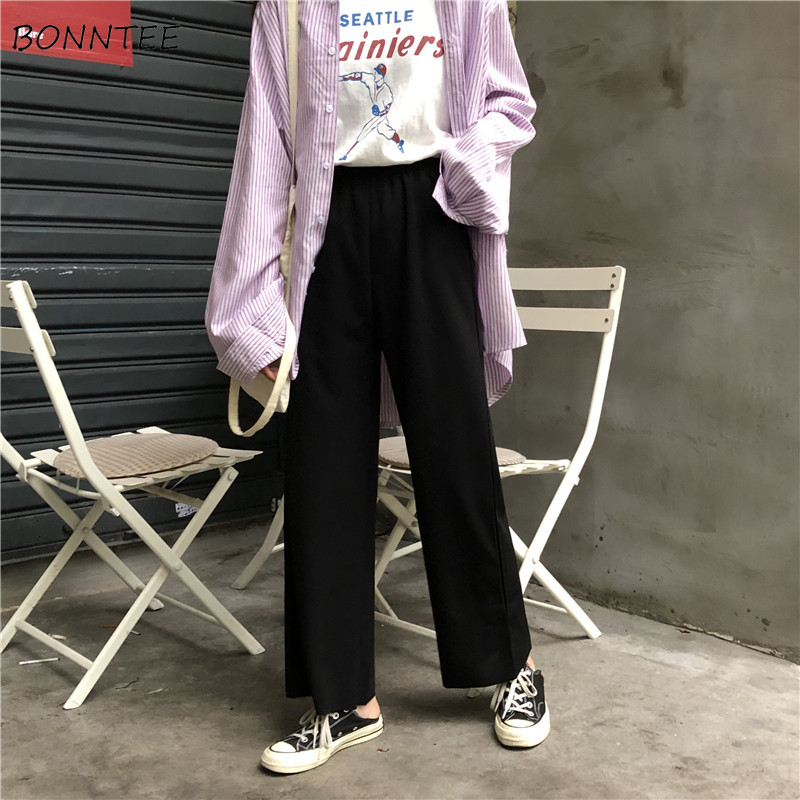 Pants Women Korean Style Leisure Simple Chic Elastic Waist All-match Womens Solid High Quality Loose Long Trousers 2020 Daily
