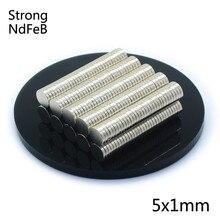 100 шт. 5x1 мм, неодимовый магнит постоянный N35 мини маленький круглый магнит на холодильник супер сильный, мощный Магнитный Магнит для ремесла