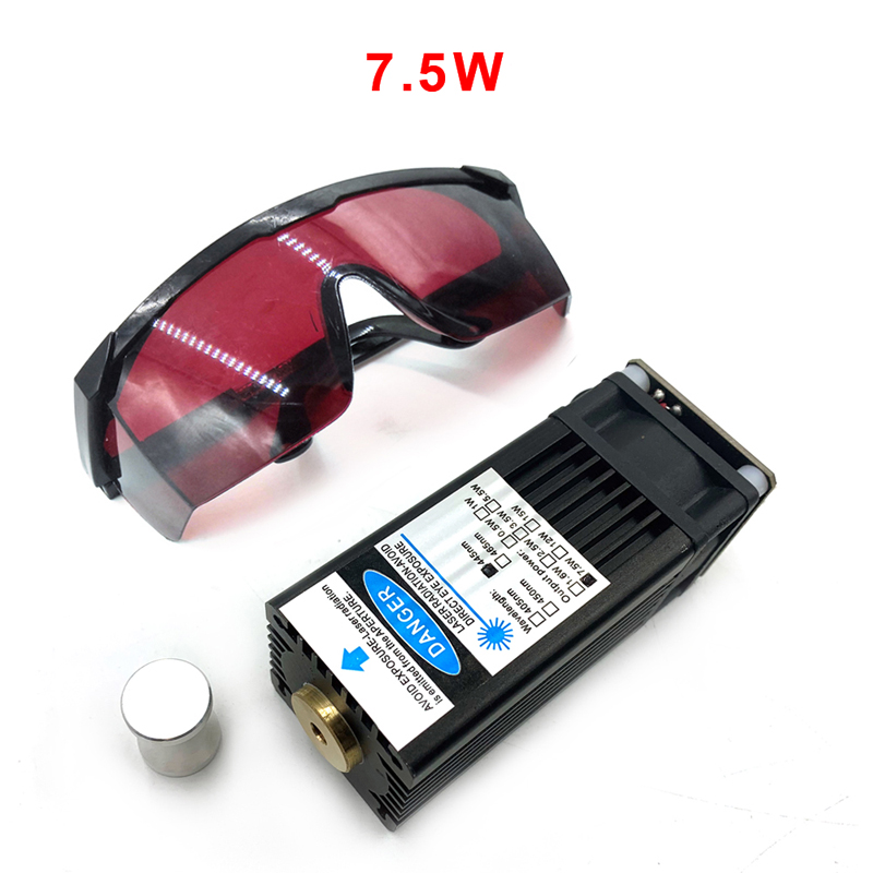 DIY Laser Engraving 7500MW Fixed Focus High Power Laser Module Blue 445nm Laser Head  With TTL Can Engrave Metal