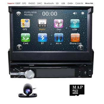"Single 1 din Multimedia Player Stereo audio Bluetooth Car Radio GPS SD 1DIN 7"" Universal Retractable Autoradio FM USB MP3 Player"