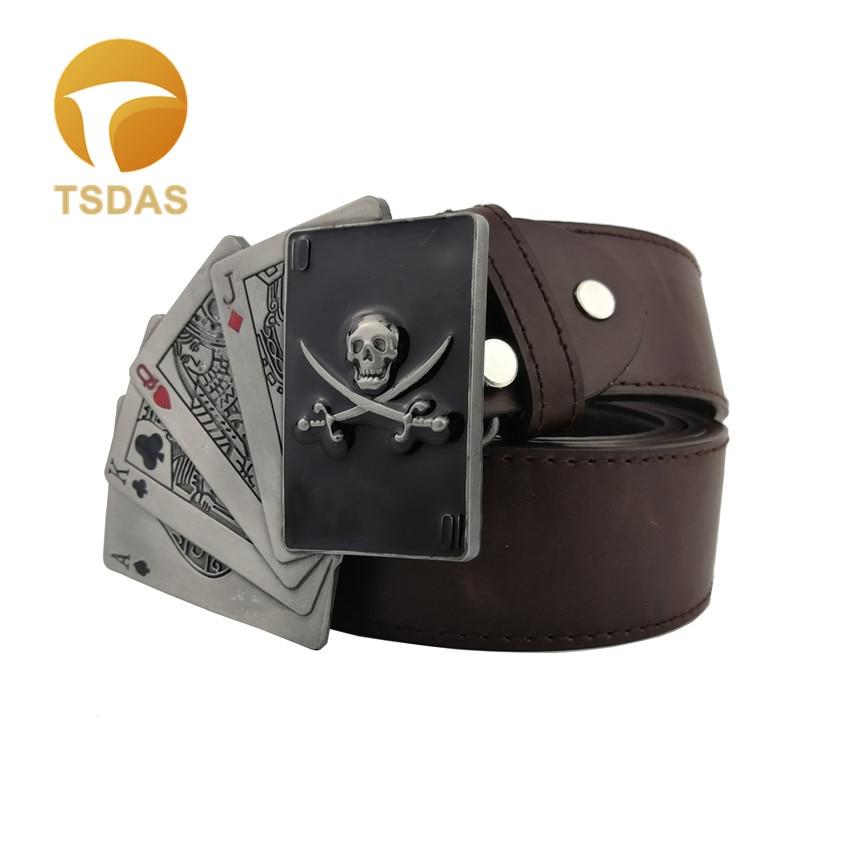 Men/'s Belt Buckle Poker 3D Removable Lighter Silver