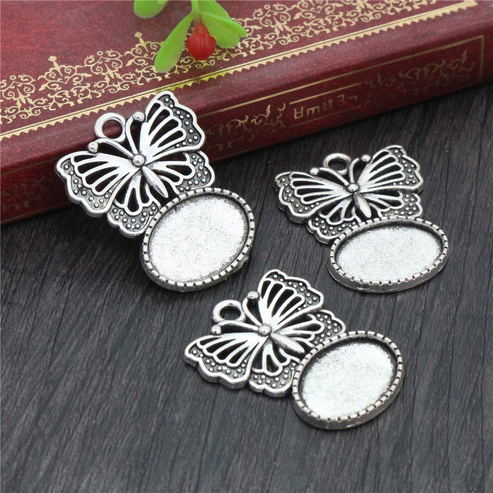 10pcs 13x18mm Inner Size Antique Silver Plated Butterfly Cameo Cabochon Base Setting Charms Pendant Necklace Findings