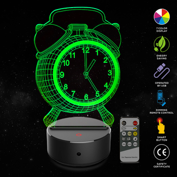 New Clock Shape 3D Illusion Lamp 7 Color Change Touch Switch LED Night Light Acrylic Desk lamp Atmosphere Novelty Lighting