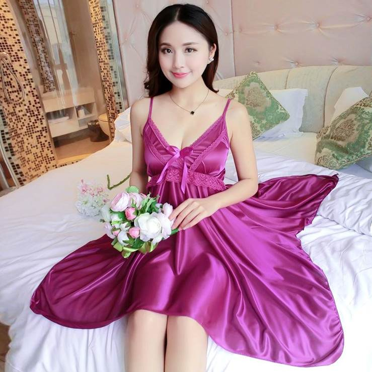 Summer Cool Satin   Nightgowns     Sleepshirts   Satin Sleepwear Chemise Sleep Lounge Night Silk Dress Elegant Sexy Ladies Nightwear