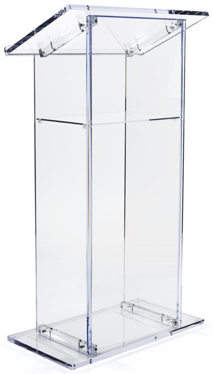 Clear Acrylic Lectern, Presentation Podium With Internal Shelf, 47 Inches Tall Plexiglass