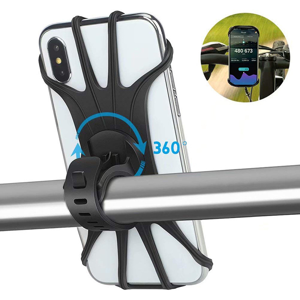 Bicycle Mobile Phone Holder Silicone Anti Slide Handle Motorcycle Handlebar Mount Holder 360 Bike Mount Phone Holder Accessories