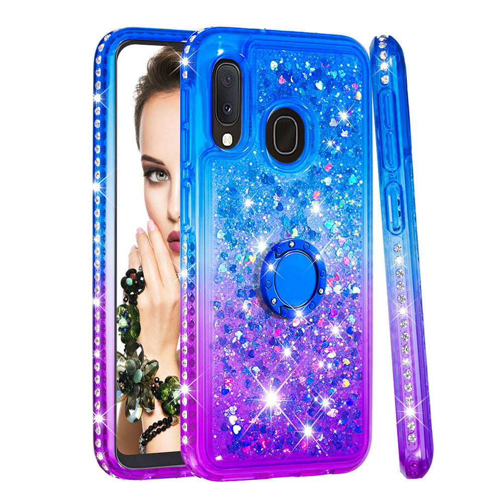 Image 5 - Phone Case for Samsung Galaxy A10e A20e A60 M40 Cover TPU Bling Giltter Quicksand Liquid Diamond Bracket Finger Ring Funda Coque-in Fitted Cases from Cellphones & Telecommunications