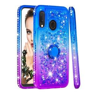 Image 5 - Чехол для телефона samsung Galaxy A10e A20e A60 M40 чехол TPU Bling Giltter Quicksand жидкий Алмазный кронштейн палец кольцо Funda Coque
