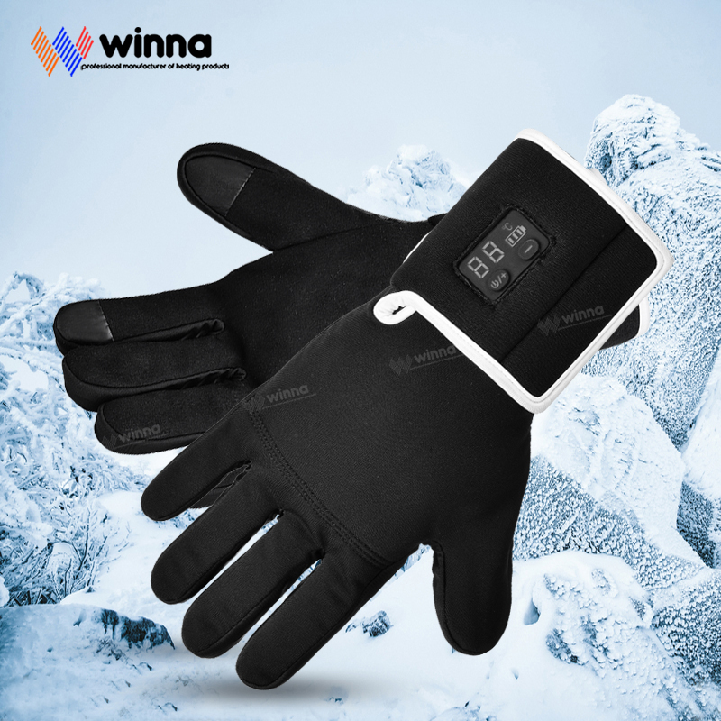 Smart Electric Heating Gloves With 2200mAh Lithium Battery 5 Fingers And Hand Back Heating Touch Screen Fishing Hunting Gloves
