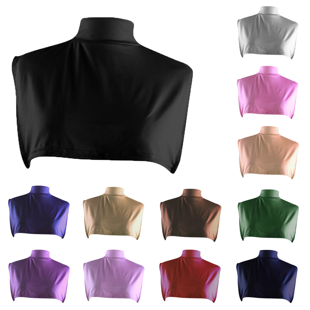 Ramadan Women Half T shirt Neck Cover Inner Hijab Islamic Underscarf Turtleneck Fake Collar Solid Color Middle East Accessory
