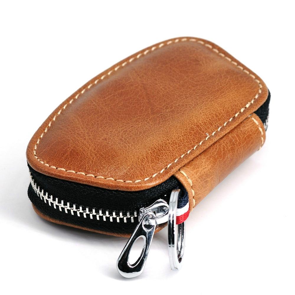 Genuine Leather Key Chain Men Women Key Case Multifunction Organizer Wallet Holder Smart Housekeeper Car Small Key Bag