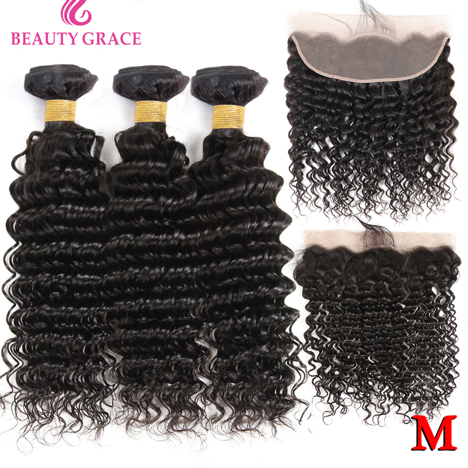 Deep Wave Bundles With Frontal Closure Brazilian Lace Frontal With Bundles Non-Remy 100% Human Hair Weave 3 Bundles With Frontal