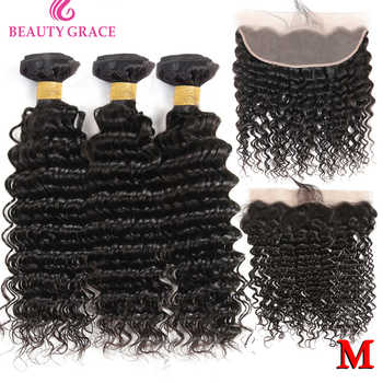Deep Wave Bundles With Frontal Closure Brazilian Lace Frontal With Bundles Non-Remy 100% Human Hair weave 3 Bundles With Frontal - DISCOUNT ITEM  45% OFF All Category