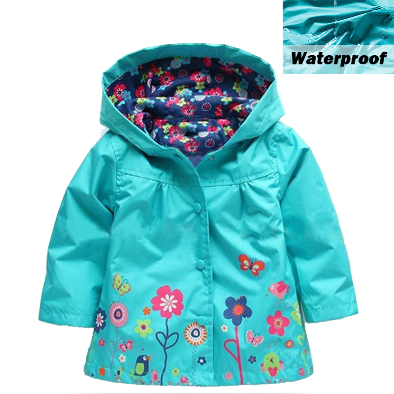 Baby Girls Windbreaker 2019 Spring Jackets For Girls Trench Coat Raincoat Flower Kids Girls Waterproof Outerwear Girl Clothes