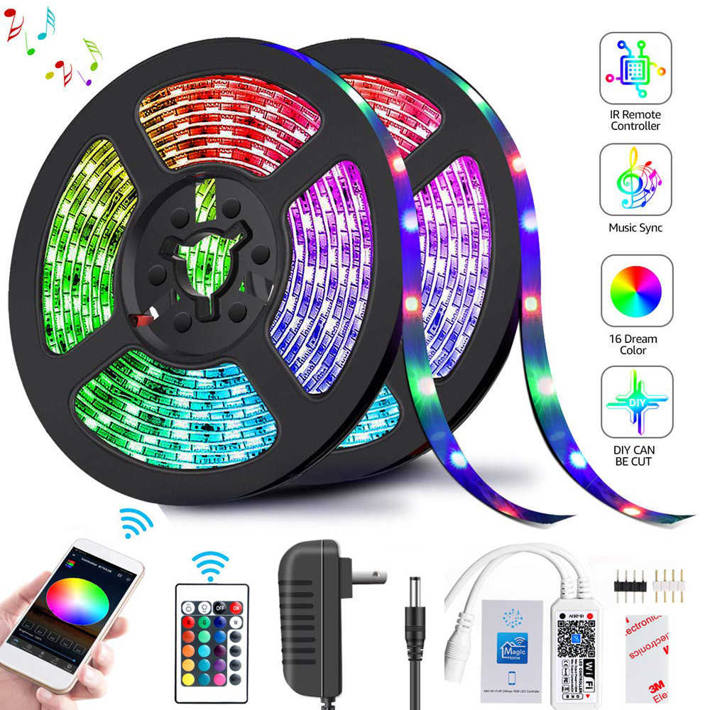 Led Strip Licht 2835 Smd Rgb Tape 5M 10M 15M 20M DC12V 3528 Flexibele Rgb Led streep Lint Diode 24Key Controller Wif Adapter